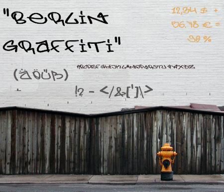 Schriftart Berlin Graffiti illustriert auf einer Mauer
